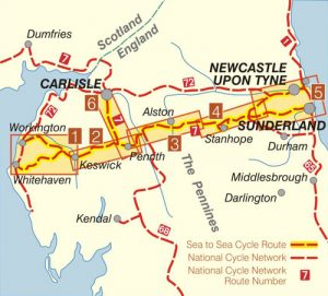 The route of the Coast to Coast Cycle Map