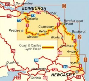 Map Of England Castles.Coast And Castles Cycle Route Map