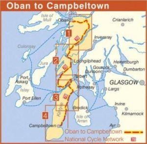 Oban to Campbeltown Sustrans Cycle Route Map NN78 route