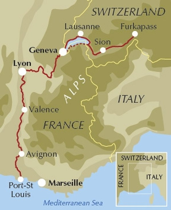 The River Rhone Cycle Route - route map