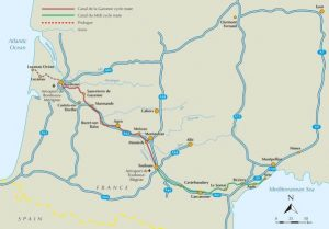 Cycling the Canal de la Garonne and Canal du Midi - route