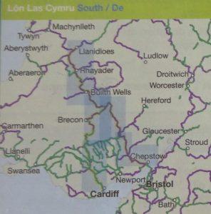 Lon Las Cymru South Sustrans Map - the route