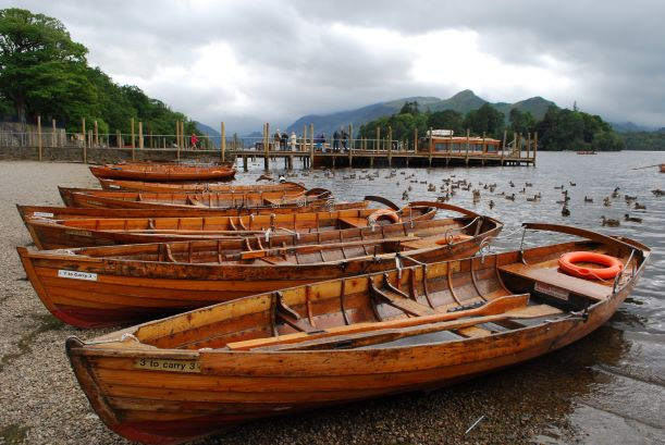 Rowing boats at Derwent Water Keswick