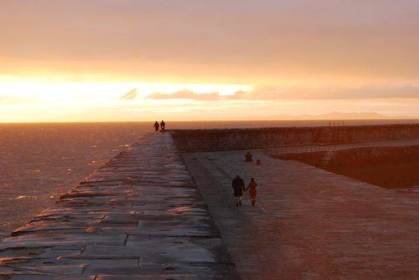 The amazing Whitehaven harbour wall at sunset