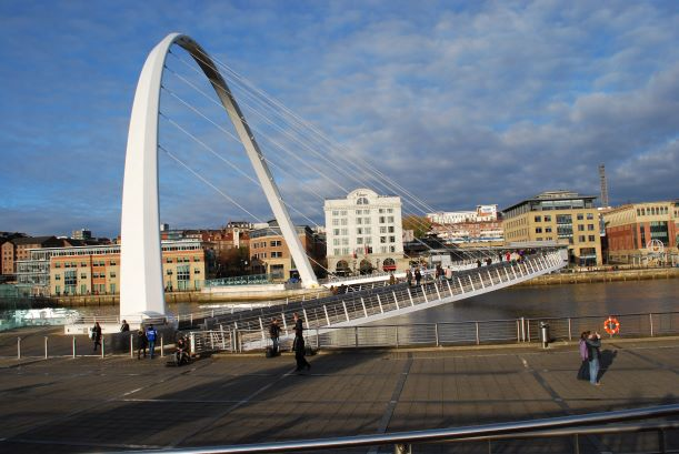 Urban scenery on the C2C can be as spectacular as the rural The Blinking Eye Bridge in Newcastle has a lower span that raises vertically to let ships pass