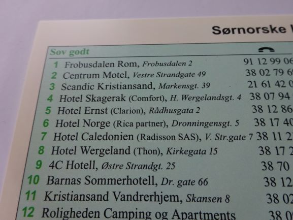 Norway - North Sea Cycle Route West in Norwegian hotel info sample
